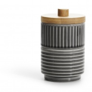 2 mieseczki do serwowania/cukiernica z pokrywką, szare, ceramika/bambus, śred. 8 x 13 cm