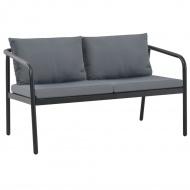2-osobowa sofa ogrodowa z poduszkami, aluminium, szara