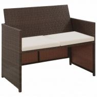 2-osobowa sofa ogrodowa z poduszkami, polirattan, brązowa