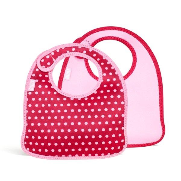 2 śliniaki dla dzieci BUILT Mess Mate Baby Pink Mini Dots BBY-MMBB-BMD