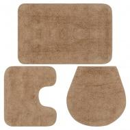 3-częściowy zestaw mat łazienkowych, tkanina, beż