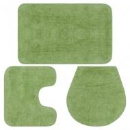 3-częściowy zestaw mat łazienkowych, tkanina, zielony