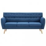 3-osobowa sofa tapicerowana tkaniną, 172x70x82 cm, niebieska