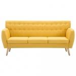3-osobowa sofa tapicerowana tkaniną, 172x70x82 cm, żółta