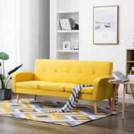 3-osobowa sofa tapicerowana tkaniną, żółta