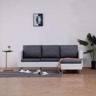 3-osobowa sofa z poduszkami, biała, sztuczna skóra