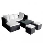 4-cz. zestaw wypoczynkowy do ogrodu poduszki rattan PE czarny
