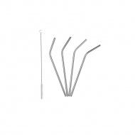 4 stalowe słomki ze szczoteczką do czyszczenia, 21 cm