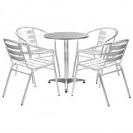 5-cz. zestaw mebli ogrodowych, aluminium, srebrny