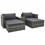 5-cz. zestaw wypoczynkowy do ogrodu, poduszki, rattan PE, szary