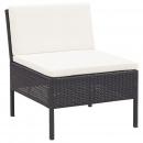 6-cz. zestaw wypoczynkowy do ogrodu, poduszki, czarny rattan PE