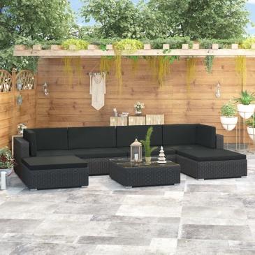 7-cz. zestaw wypoczynkowy do ogrodu, poduszki, rattan PE czarny