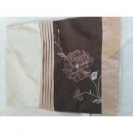 Bieżnik brązowy, satynowy z kwiatem