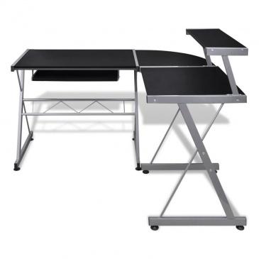 Biurko komputerowe z ruchomą półką na klawiaturę, czarne