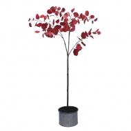 Bordowe drzewko dekoracyjne z liśćmi 160 cm