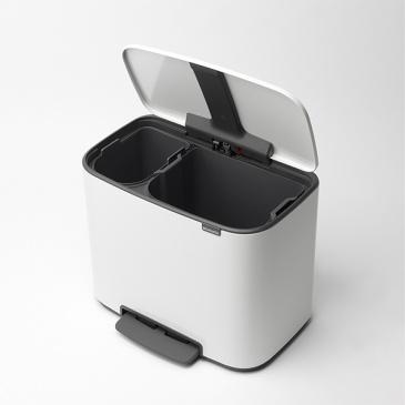 Kosz na śmieci kuchenny 23+11l Brabantia Bo Pedal Bin Biały 2 komory