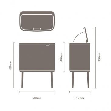 Kosz na śmieci kuchenny 3x11l Bo Touch Bin 3 komory Brabantia czerwony