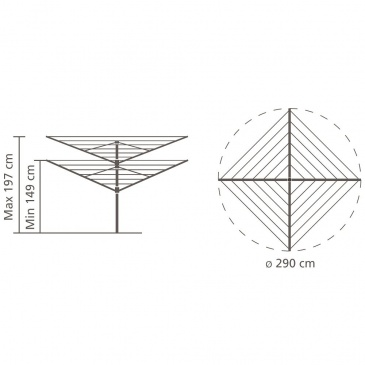 BRABANTIA - Lift-O-Matic Advance - Suszarka ogrodowa 50 m - Mocowanie do gruntu, pokrowiec, pojemnik na klamerki