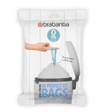 BRABANTIA - PerfectFit Bags - Worki na śmieci rozmiar O - 30 l - 40 szt.
