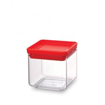 BRABANTIA - Tasty Colours - Kwadratowy pojemnik kuchenny - 0,7 l - pokrywa czerwona