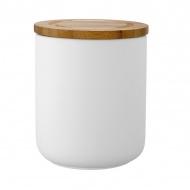 Ceramiczny pojemnik z bambusowym wieczkiem 13cm Stak Soft Matt Ladelle biały