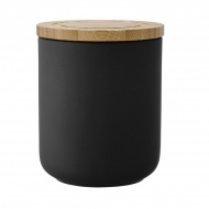 Ceramiczny pojemnik z bambusowym wieczkiem 13cm Stak Soft Matt Ladelle czarny