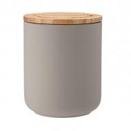 Ceramiczny pojemnik z bambusowym wieczkiem 13cm Stak Soft Matt Ladelle szary