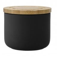 Ceramiczny pojemnik z bambusowym wieczkiem 9cm Stak Soft Matt Ladelle czarny