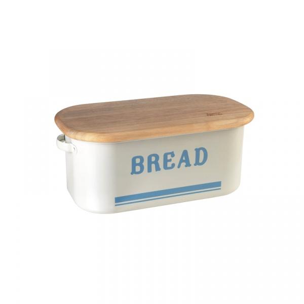 Chlebak emalia + deska Jamie Oliver kremowo-błękitny JB8900
