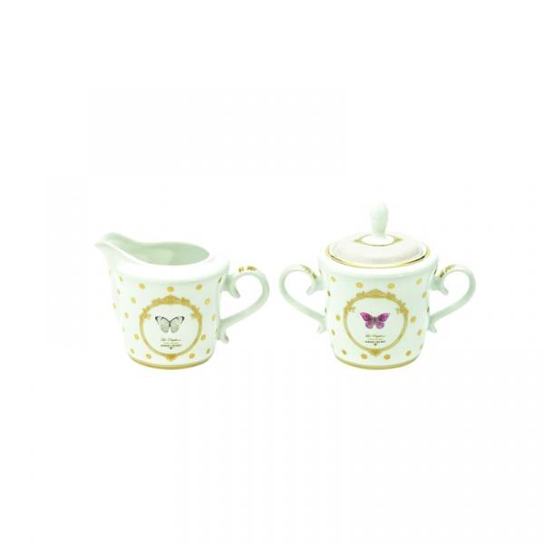 Cukiernica + mlecznik do kawy Nuova R2S Elegance motyle 1104 DOB