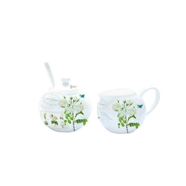 Cukiernica z łyżeczką + mlecznik do kawy Nuova R2S Romantic białe kwiaty 317 NATU