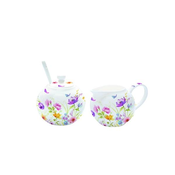 Cukiernica z łyżeczką + mlecznik do kawy Nuova R2S Romantic bratki 317 FLDC