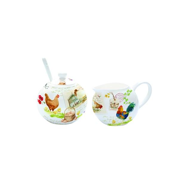 Cukiernica z łyżeczką + mlecznik do kawy Nuova R2S Romantic kurnik 317 CTLI