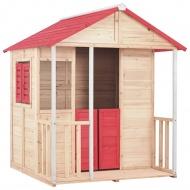 Domek do zabawy dla dzieci, drewniany, czerwony