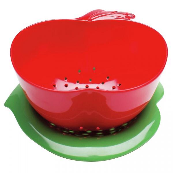 Durszlak jabłko z podstawką Zak! Design czerwono-zielony 1742-A854