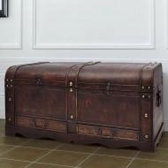 Duży, drewniany kufer, brązowy