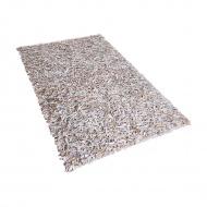 Dywan jasnobeżowy - Shaggy - skórzany - mata - 140x200 cm - Giorno