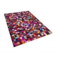 Dywan - kolorowy - skóra - patchwork - 160x230 cm - Nettuno