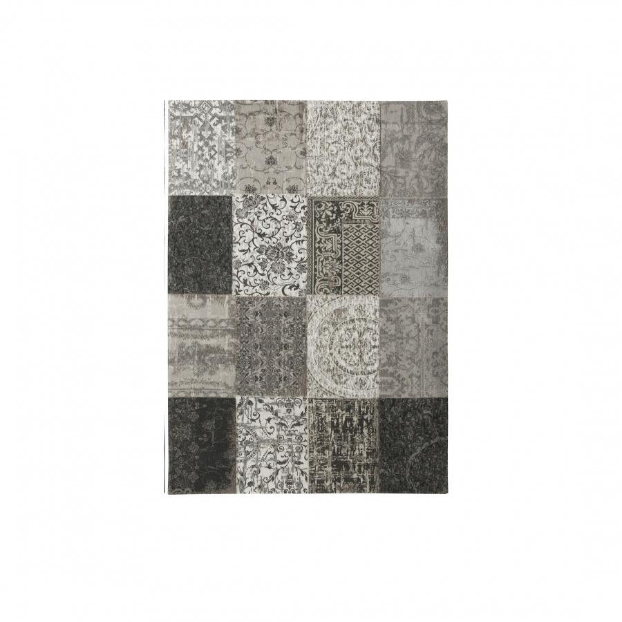 Dywan naturalny 140x200 cm louis de poortere vintage patchwork black white czarno biały 8101