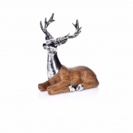 Figurka jeleń leżący 25x13x26cm Miloo Home Wabi Sabi XMAS srebrna