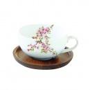 Filiżanka porcelanowa z podkładką akacjową Nuova R2S Sakura