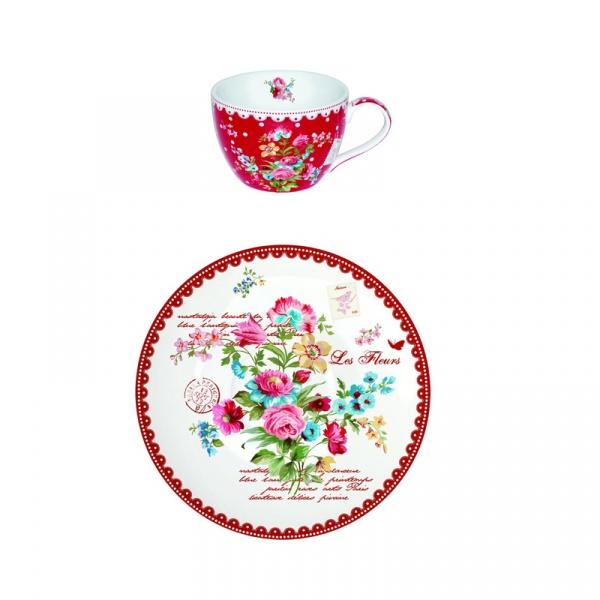 Filiżanka śniadaniowa z talerzykiem Nuova R2S Jardin Secret kwiaty 939 JAFR