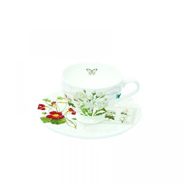 Filiżanki espresso z talerzykami 2 szt. Nuova R2S Romantic kwiaty 328 NATU
