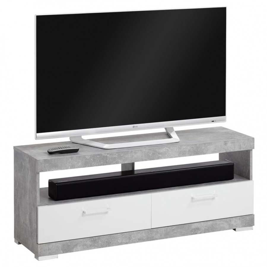 FMD Szafka TV/Hi-Fi, betonowa szarość i lśniąca biel kod: V-428710 + Z NAMI NIE RYZYKUJESZ