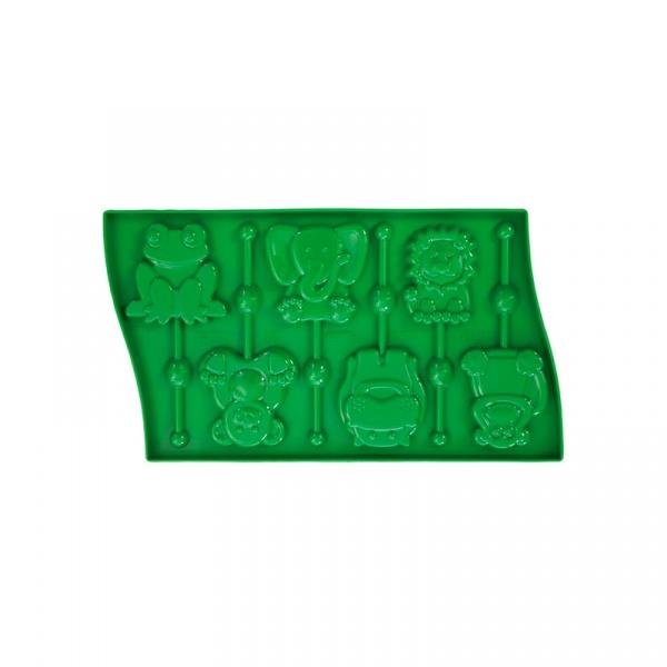Forma do lizaków Pavoni zwierzaczki zielona LP02VR8S
