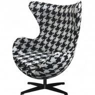Fotel 83x107x72cm King Home Egg duża pepitka/czarny