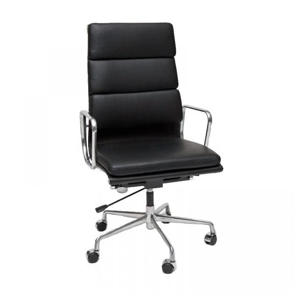Fotel biurowy CH2191T czarna skóra chrom DK-27745