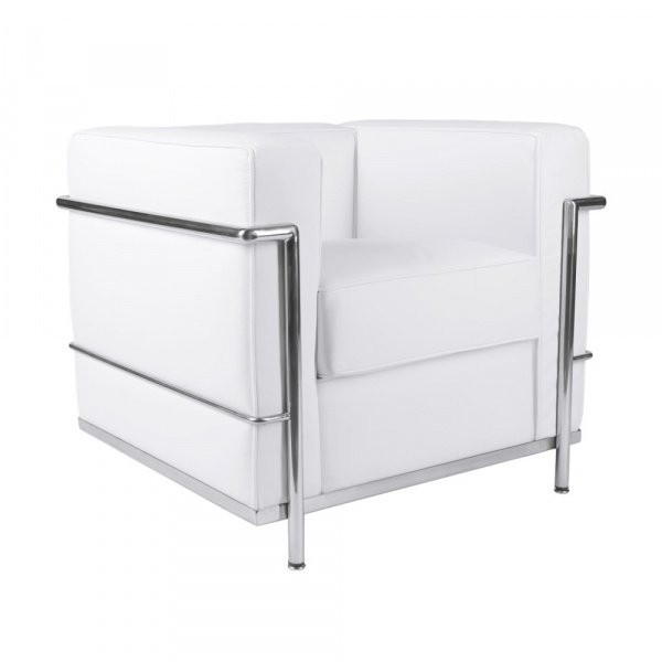 Fotel D2 Kubik biała skóra TP DK-40760