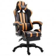 Fotel dla gracza z podnóżkiem, pomarańczowy, PU
