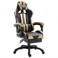 Fotel dla gracza z podnóżkiem, złoty, PU